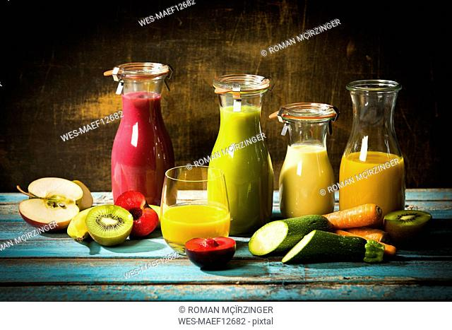 Various smoothies, fruits and vegetables