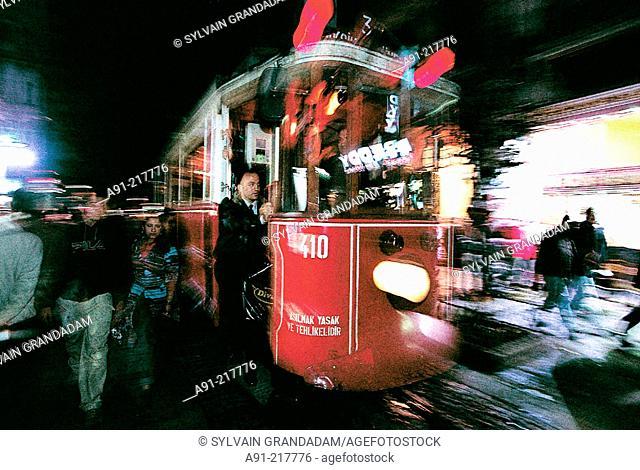 Tram at Istiklal Caddesi at night. Istanbul. Turkey