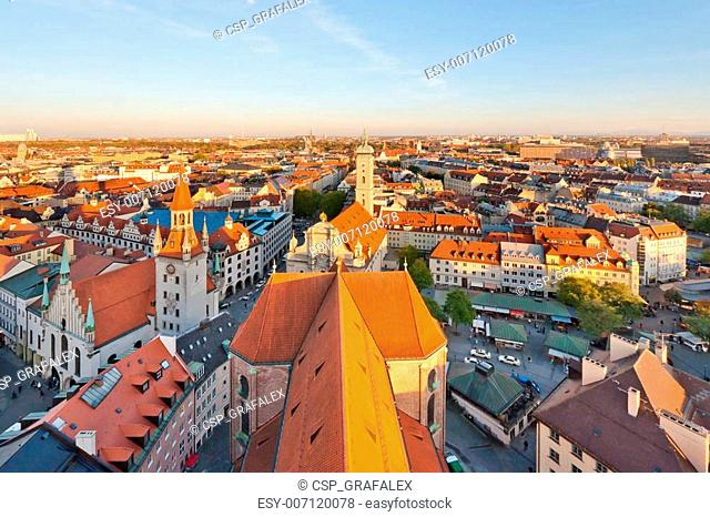 Panoramic view at the Munich at the sunset