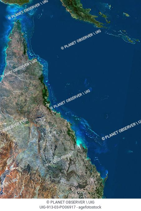 Satellite view of the Great Barrier Reef. It extends along most of Queensland's coastline in north-east Australia, from Torres Strait and Cape York peninsula...