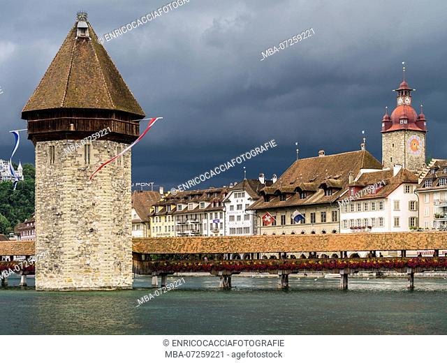 Chapel bridge in Lucerne before thunderstorm