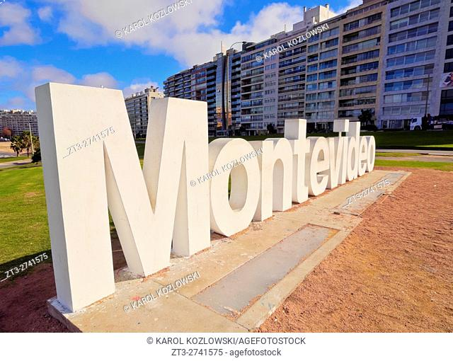 Uruguay, Montevideo, Pocitos, View of the Montevideo Sign