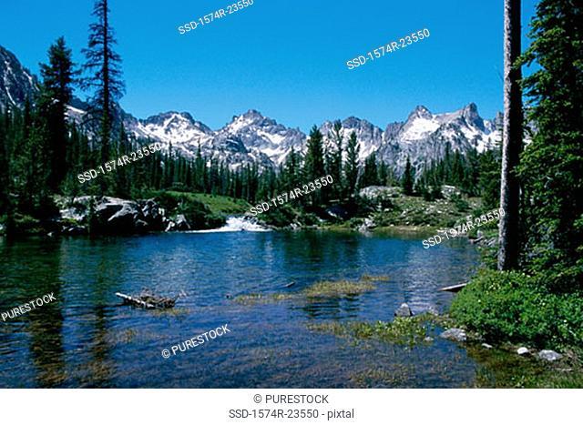 Lake surrounded by mountains, Alice Lake, Sawtooth National Recreation Area, Idaho, USA