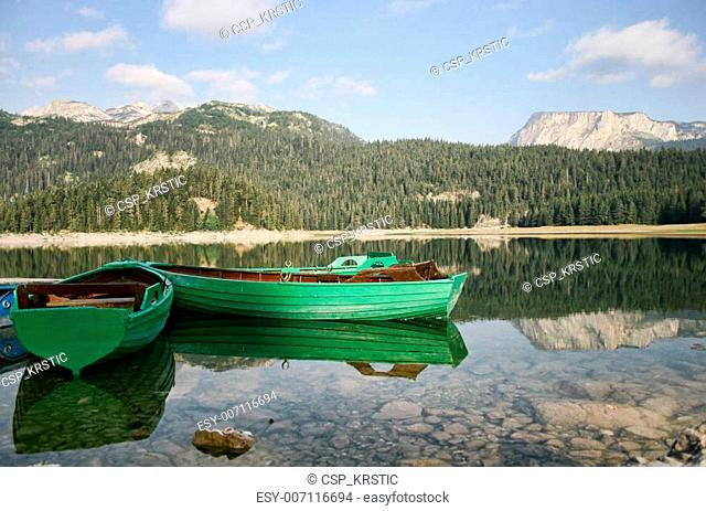 Boats on beautiful mountain