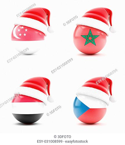 Christmas in the Egypt, Morocco, Singapore, Czech Republic on a white background