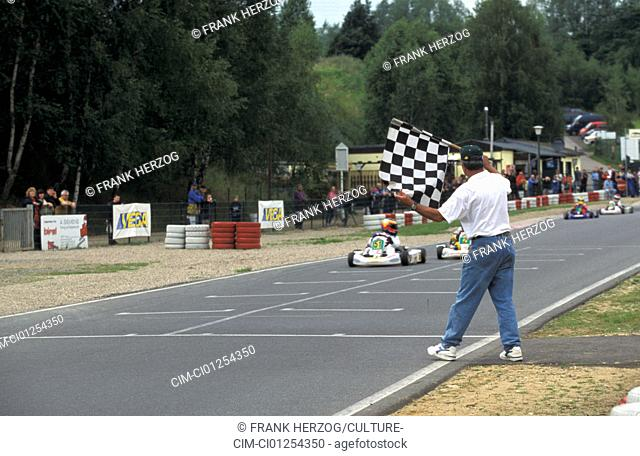 Car, Car racing, Kartrace 1998 at Liedolsheim, goal, Flag