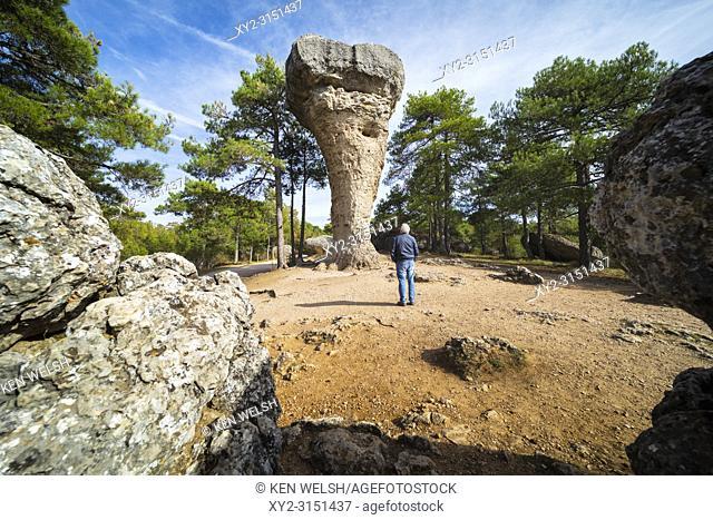 Ciudad Encantada, Cuenca Province, Castilla-La Mancha, Spain. Karstic rock formation. This one, called El Tormo Alto, is a symbol of the Ciudad Encantada