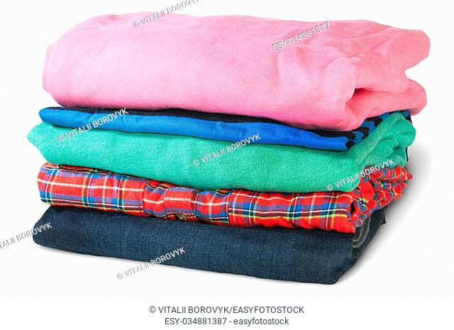 Stack Of Five Types Of Clothes Rotated Isolated On White Background
