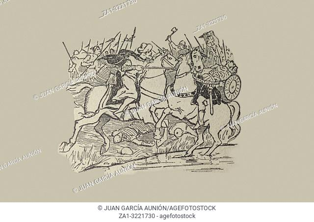 Battle of Guadalete in 711 between Visigoths of Hispania and Muslim Umayyad Caliphate. Draw from book Enciclopedia Autodidactica published by Dalmau Carles in...