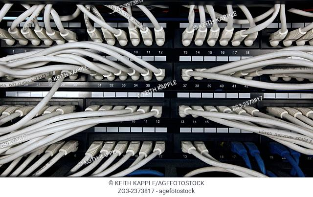 Close-up view of network server room cables