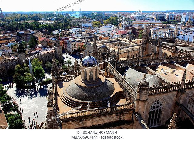 Spain, Andalusia, old town of Seville, view from the tower of the cathedral to the Plaza del Triunfo and the royal Alcazar