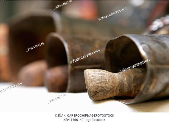 Old tools, medieval fair, Hondarribia, Guipuzcoa, Basque Country, Spain