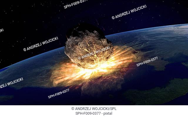 Artwork of an asteroid hitting earth