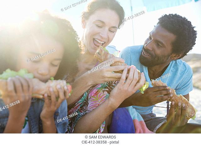 Multi-ethnic family eating baguette sandwiches on sunny beach