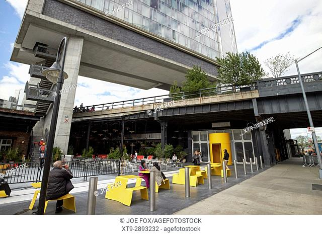 the high line elevated park walkway under the standard hotel New York City USA