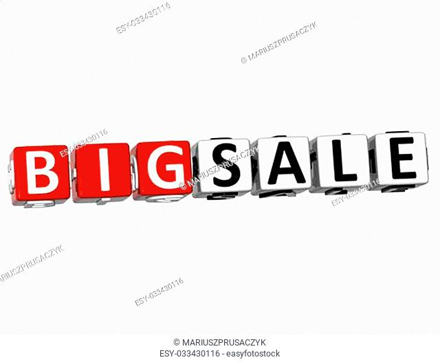 3D Big Sale Button Click Here Block Text over white background
