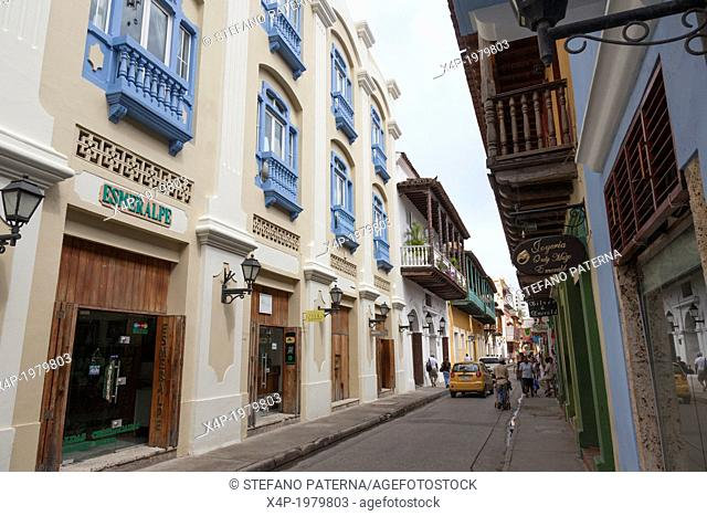 Colonial architecture and buildings in the historic centre of Cartagena, Colombia