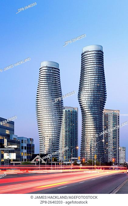 Absolute World Towers 4 & 5 (The Marilyn Monroe Towers) at dusk. Mississauga, Peel Region, Ontario, Canada