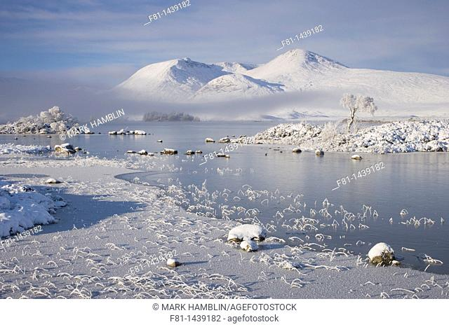 Lochan na h-Achlaise and Clach Leathad 1099m in winter, Rannoch Moor, Highland, Scotland