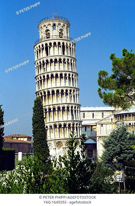The famous Leaning Tower of Pisa built 1173 in the Piazza dei Miracoli at Pisa Italy