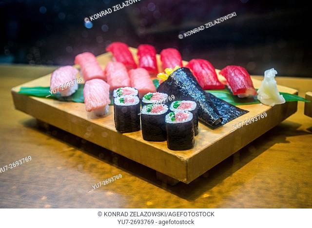 sampuru - plastic food replicas display in sushi restaurant, Akasaka district in Minato special ward, Tokyo city, Japan