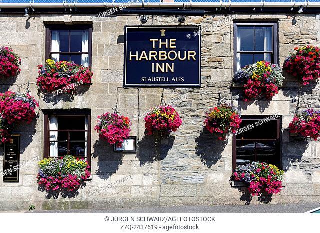 Flowers at The Harbour Inn, Porthleven, Cornwall, UK