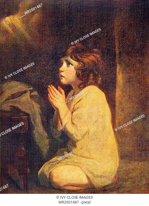 This painting, titled The Infant Samuel, is by English artist Sir Joshua Reynolds (1723-1792), who is known for his style that is graceful in composition and...