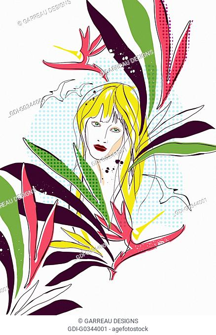 Hippie chick and birds of paradise design