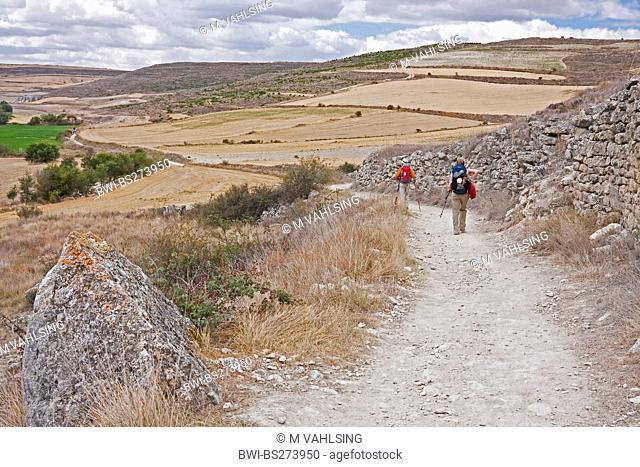 two pilgrims on the way from Hontanas to San Anton, Spain, Kastilien und Len, Burgos