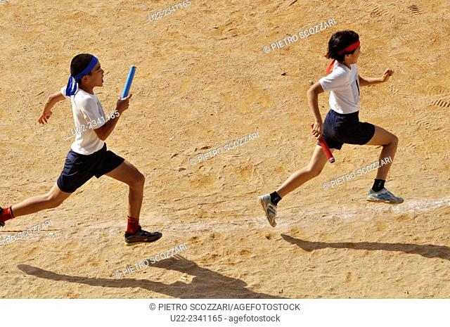 Naha, Okinawa, Japan: students during the Sport Day at Takara elementary school, Oroku