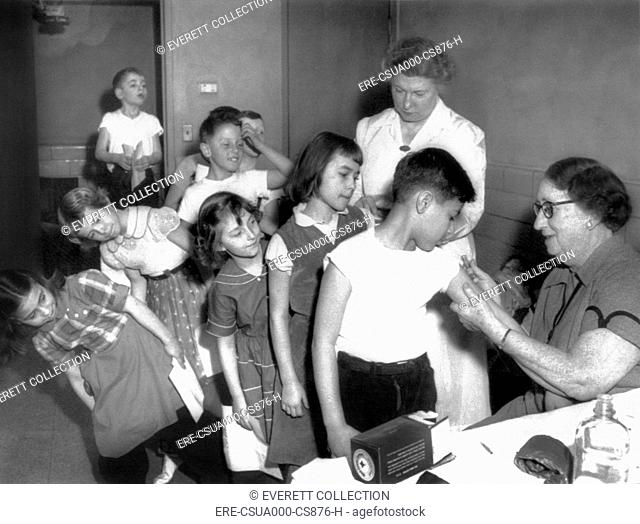 Children inoculated against diphtheria. An epidemic of choking disease broke out in Michigan City, Indiana. Feb. 29, 1956