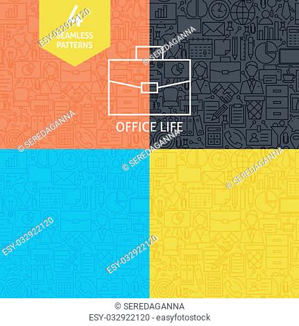 Thin Line Art Business Office Life Pattern Set. Four Vector Website Design and Seamless Background in Trendy Modern Outline Style