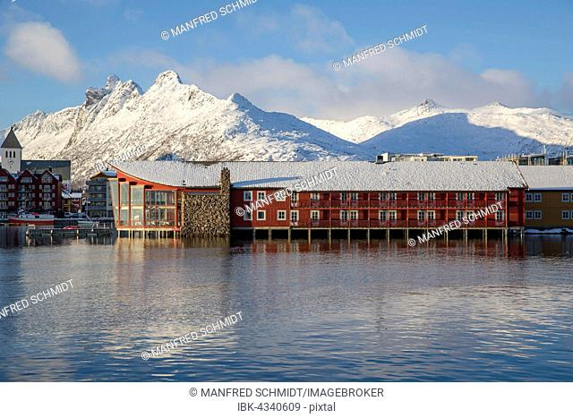 Hotel Scandic Svolvær in front of snow-covered mountains, Svolvær, Austvågøy, Lofoten, Nordland, Norway