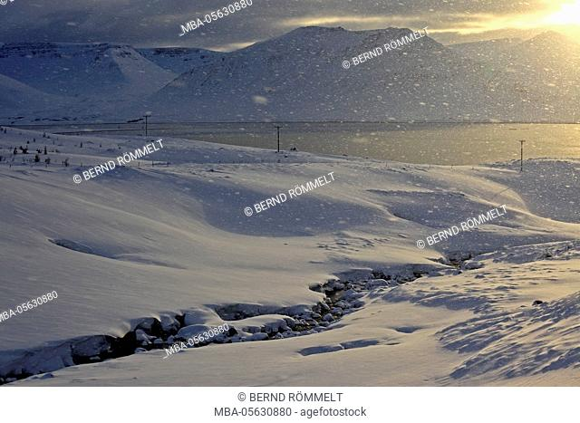 Iceland, west fjords, winter scenery in the Dyrafjördur close Pingeyri
