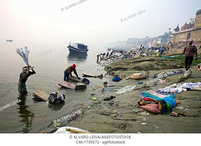 Clothes washers , Varanasi, India, Ganges River