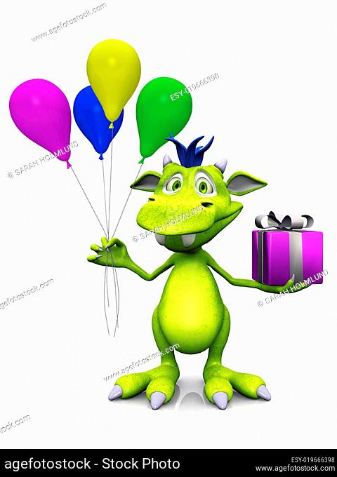 Cute cartoon monster holding balloons and a gift