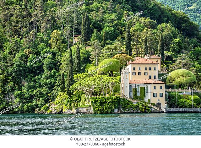 Villa Balbianello in Lenno at Lake Como, seen from the lakeside, Lombardy, Italy