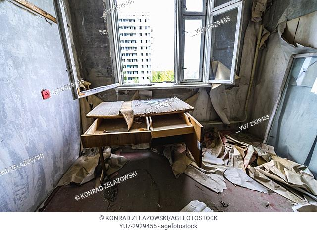 Room in 16-stored block of flats in Pripyat ghost city of Chernobyl Nuclear Power Plant Zone of Alienation around nuclear reactor disaster in Ukraine