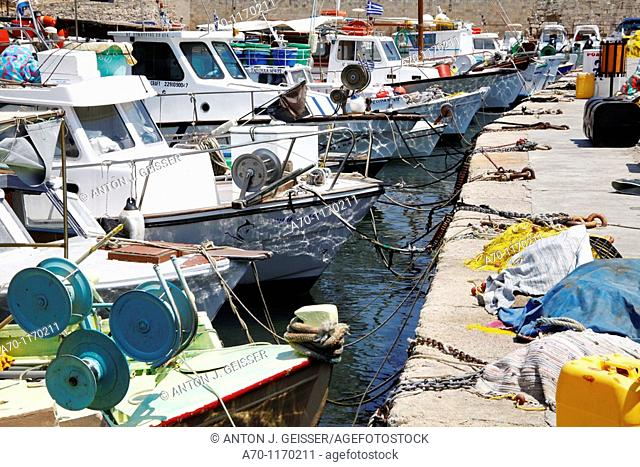 Fishingboat at rhodes harbour , greece