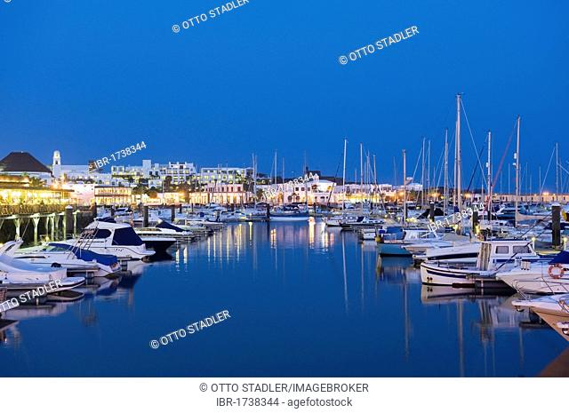 Boats in the marina at night, Marina Rubicon, Playa Blanca, Lanzarote, Canary Islands, Spain, Europe