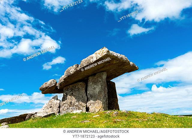 Poulnabrone dolmen in the Burren area of County Clare, Republic of Ireland