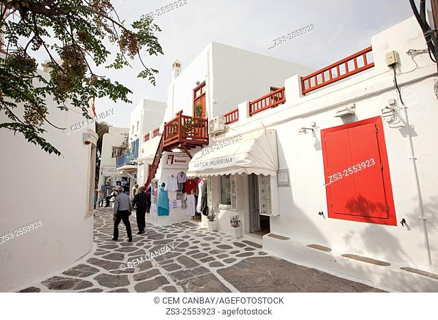 Whitewashed houses with colorful doors and railings in town center, Mykonos, Cyclades Islands, Greek Islands, Greece, Europe