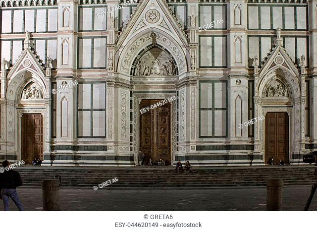 Architectural feature of the entrance doorway of Holy Cross church in Florence