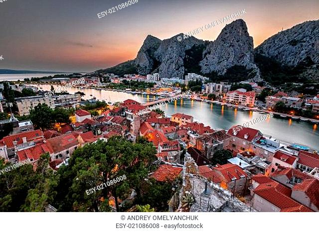Aerial View on Omis and Cetina River Gorge in the Evening, Dalmatia, Croatia