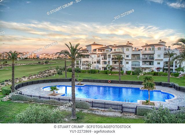 HDR image of the Swimming Pool and Golf Course from an apartment on Hacienda Riquelme Golf Resort, Murcia, Spain