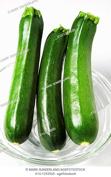 Three Courgettes in a Glass Bowl