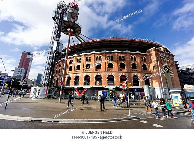 Spain, Catalonia, Catalunya, Barcelona, Las Arenas, Shopping Centre, former bollfighting ring, Plaza de toros Monumental, Plaza de Espana