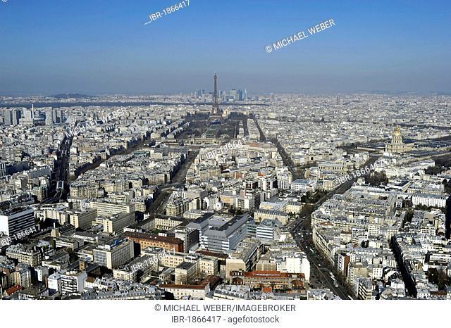 Cityscape towards the west with the Eiffel Tower or Tour Eiffel, La Defense, Paris, France, Europe