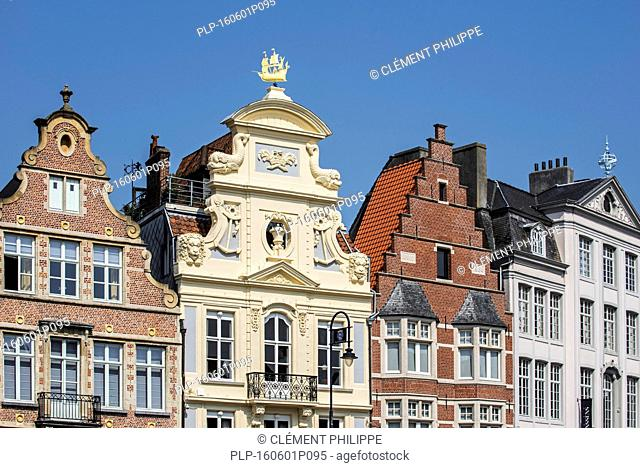 Baroque façade of the Gildehuis der Onvrije Schippers at the Korenlei in the city Ghent, East Flanders, Belgium