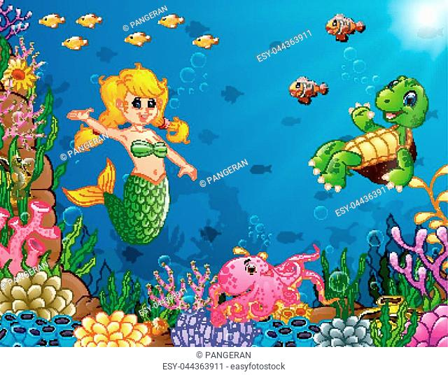Vector illustration of Cartoon mermaid underwater with turtle and octopus
